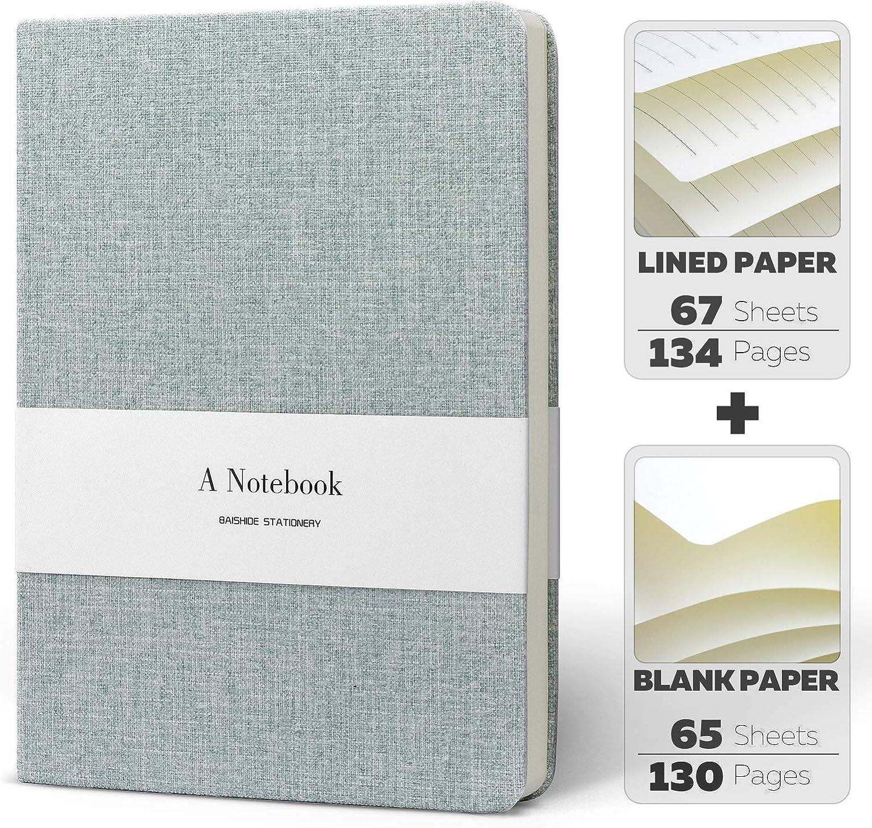 KKDragon Notizbuch A5 Liniert und blanko Papier Insgesamt 132 Blatt Hardcover Kunsttuch Hellblau 264 Seiten