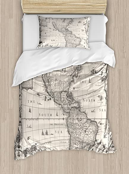 Amazon wanderlust decor duvet cover set by ambesonne image of wanderlust decor duvet cover set by ambesonne image of antique map america in 1600s world gumiabroncs Gallery