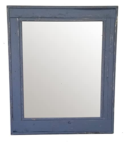 Amazon.com: Herringbone 30 x 42 Vertical Framed Mirror Pained Slate ...