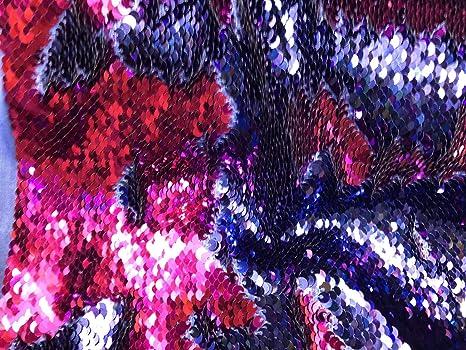Sequins Fabric 2 Way Stretch Shiny Reversible Mermaid Fuchsia//Purple By The Yard