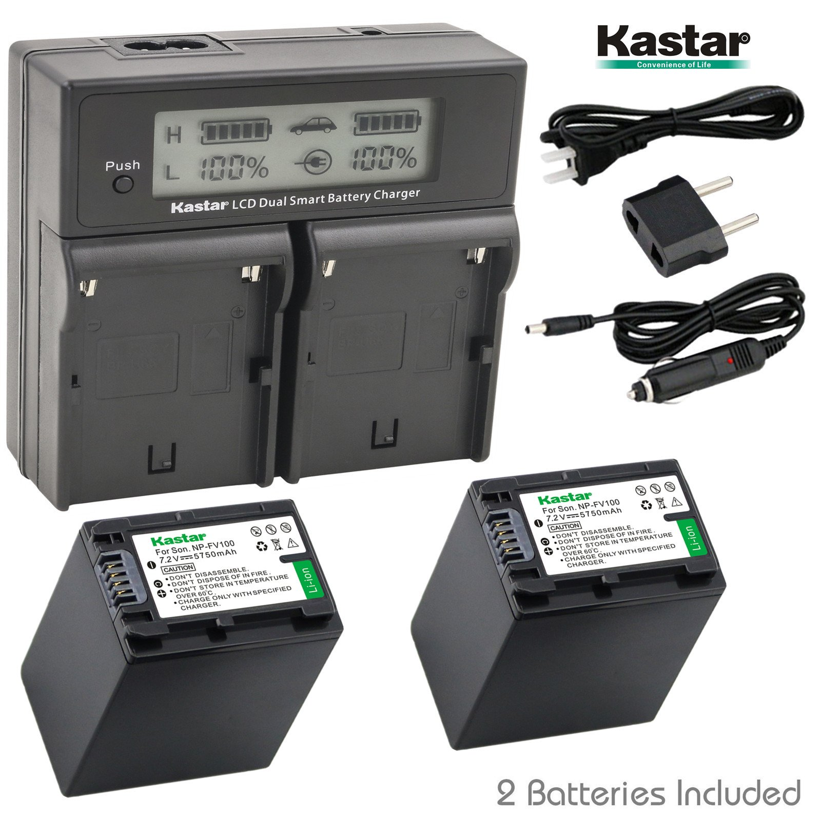 Kastar LCD Dual Smart Fast Charger & 2 x Battery for Sony NP-FV100, NP-FH100, NPFV100, NPFH100, FV100, FH100 and HDR-CX110, CX130/B, CX160/B, XR160, CX360V, CX560V, CX700V, PJ10, HDR-PJ30V, HDR-PJ50V by Kastar