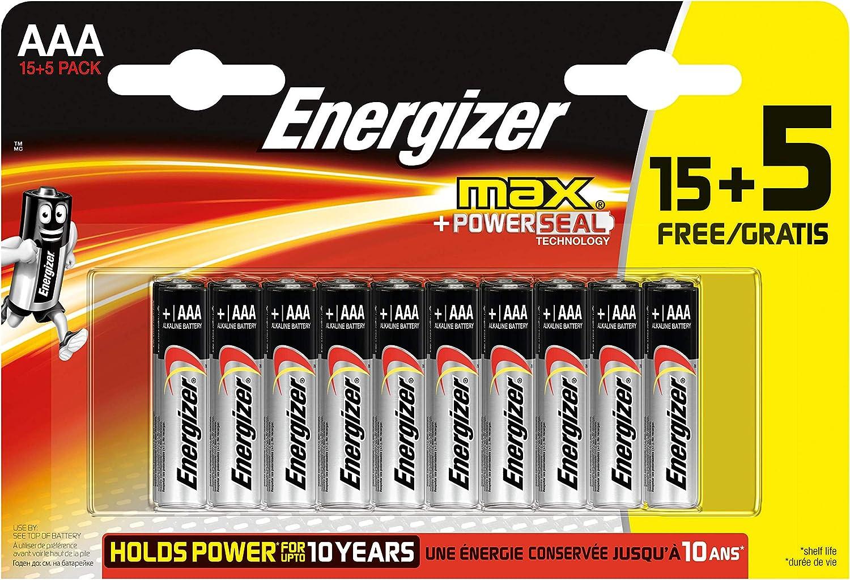 Energizer - Pack de 20 Pilas alcalinas MAX LR03 AAA, 50% más de ...