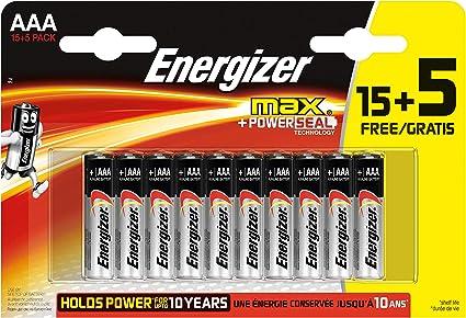 Energizer - Pack de 20 Pilas alcalinas MAX LR03 AAA, 50% más de Rendimiento, 1.5V: Amazon.es: Electrónica