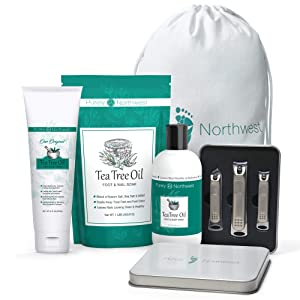 TEA TREE NATURAL FOOT CARE TREATMENT-Gift Set for Athletes Foot, Fungi and Body Odor. Includes: Tea Tree Anti Fungal Foot & Body Wash, Foot Soak, Foot & Body Cream & Nail Clipper Set-Made in the USA