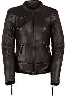 Amazon.com: Ladies Leather Motorcycle Leather Jacket Plain ...