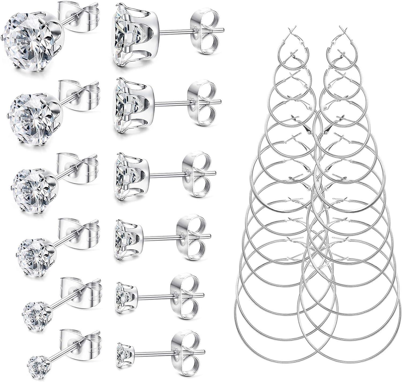 Finrezio 18 Pairs Stud Earrings Hoop Earrings Set for Women Hypoallergenic Stainless Steel Studs With Cubic Zirconia 3-8mm Round Circle Endless Hoops 2.5-7cm Pack