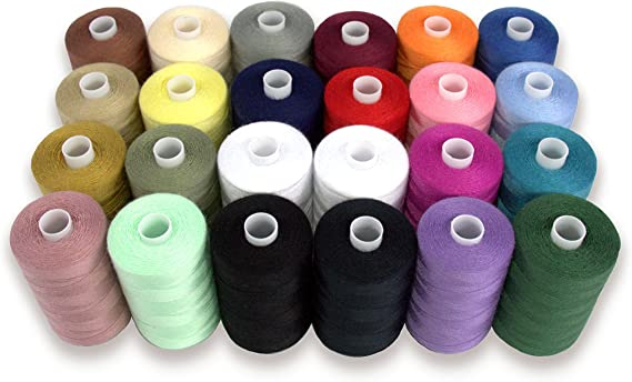 Ayuda de hilo poliéster Costura para mano y máquina de coser, 24 carretes en varios colores, 1000 m cada uno, doble de hilos en blanco y negro: Amazon.es: Juguetes y ...