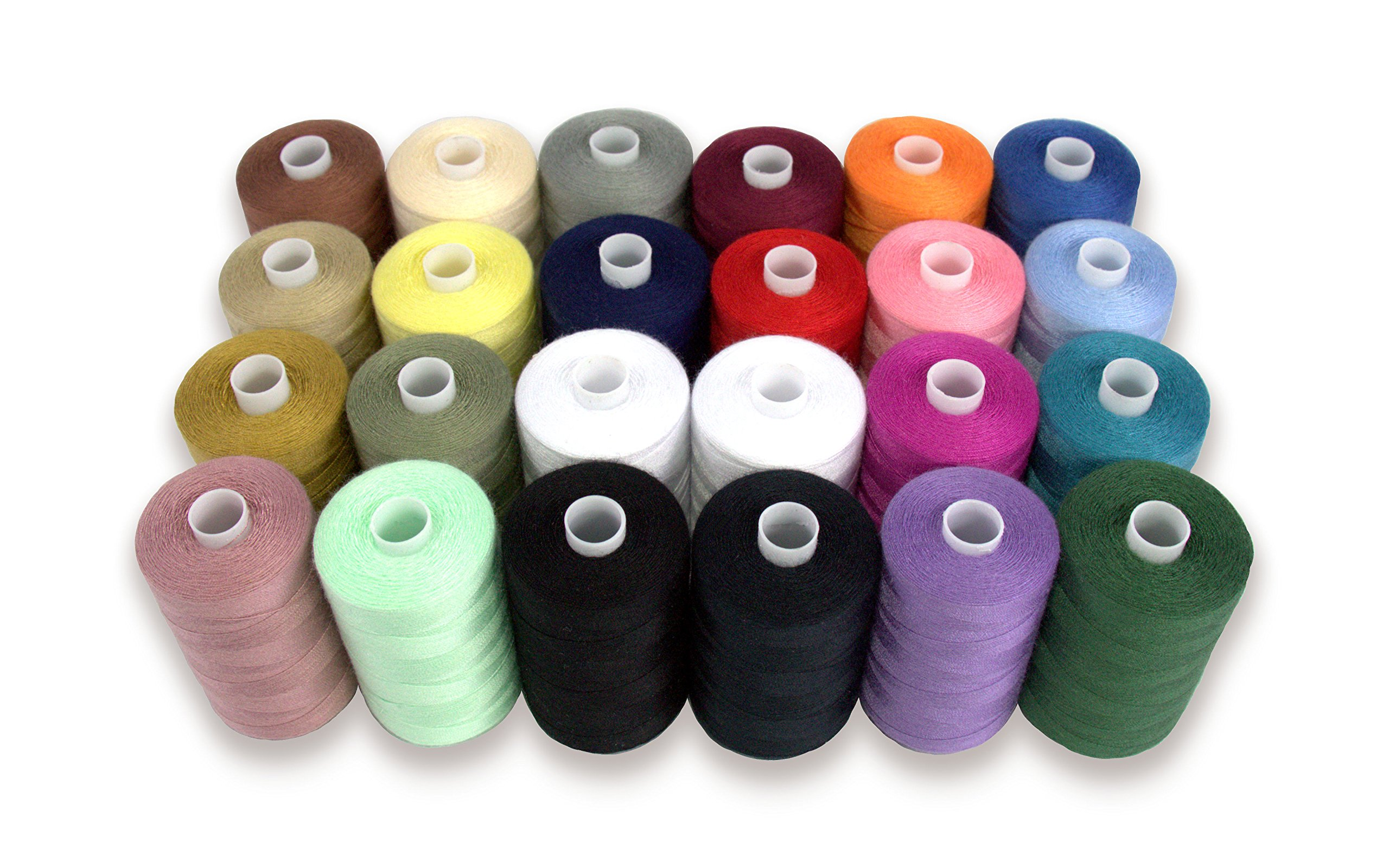 SEWING AID All Purpose Polyester Thread for Hand & Sewing Machine, 24 Spools in Assorted Colors, 1000 yd Each, Double of Black & White Threads by Sewing Aid