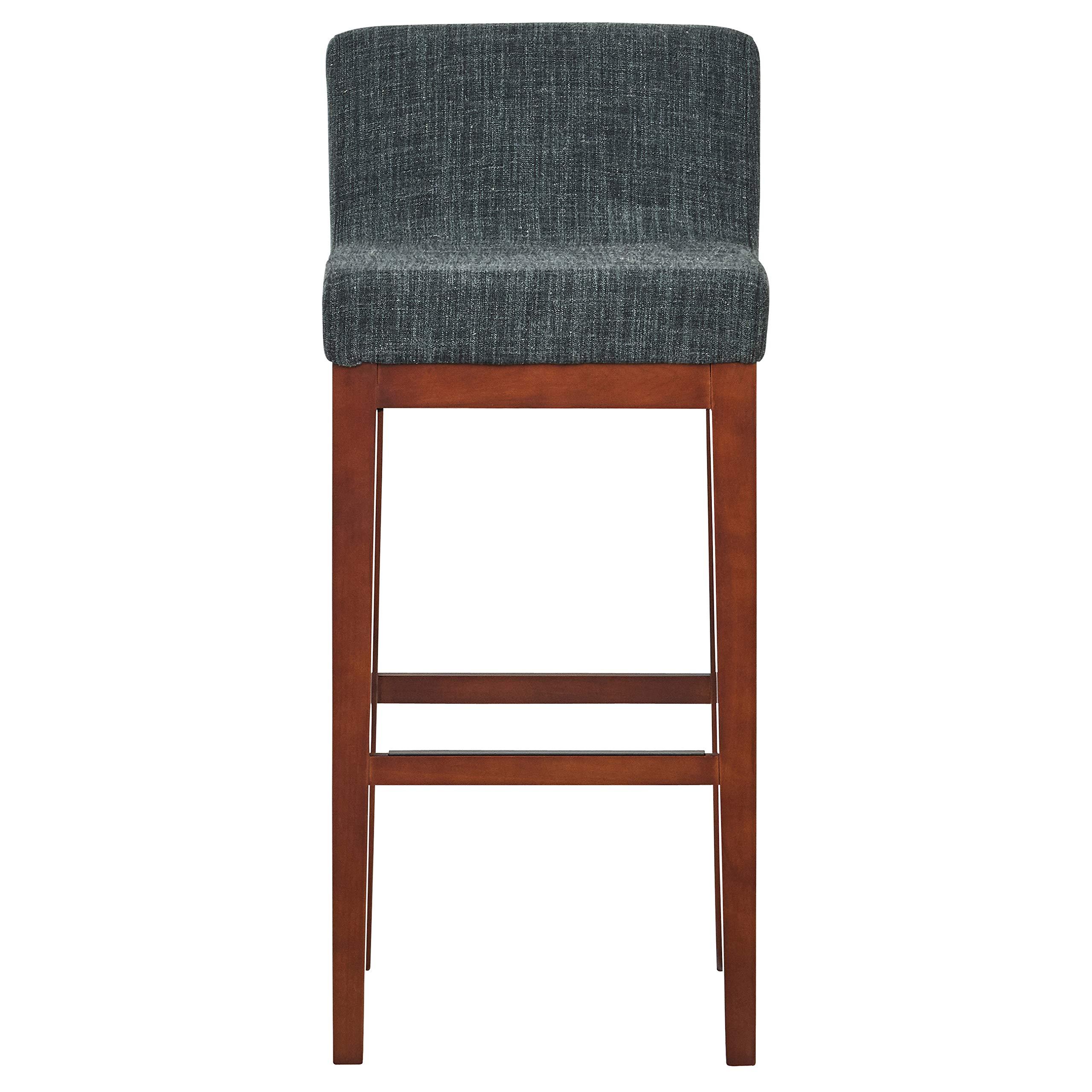 "Amazon Brand – Rivet Mid-Century Modern Upholstered Low Back Kitchen Bar  Stool, 10""H, Blue"