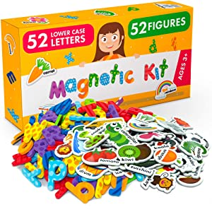 Foam Magnets and Magnetic Letters for Toddlers and Kids - ABC Alphabet Magnets for Refrigerator and Dry Erase Board - Baby Magnets for Fridge and Whiteboard - Zoo and Farm Animals Educational Toys