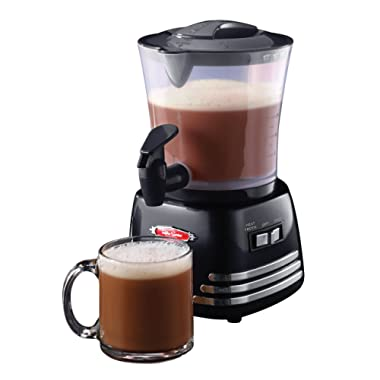 Nostalgia HCM700 Hot Chocolate, Milk Frother, Cappuccino Latte Maker and Dispenser, 32-Ounce, Black