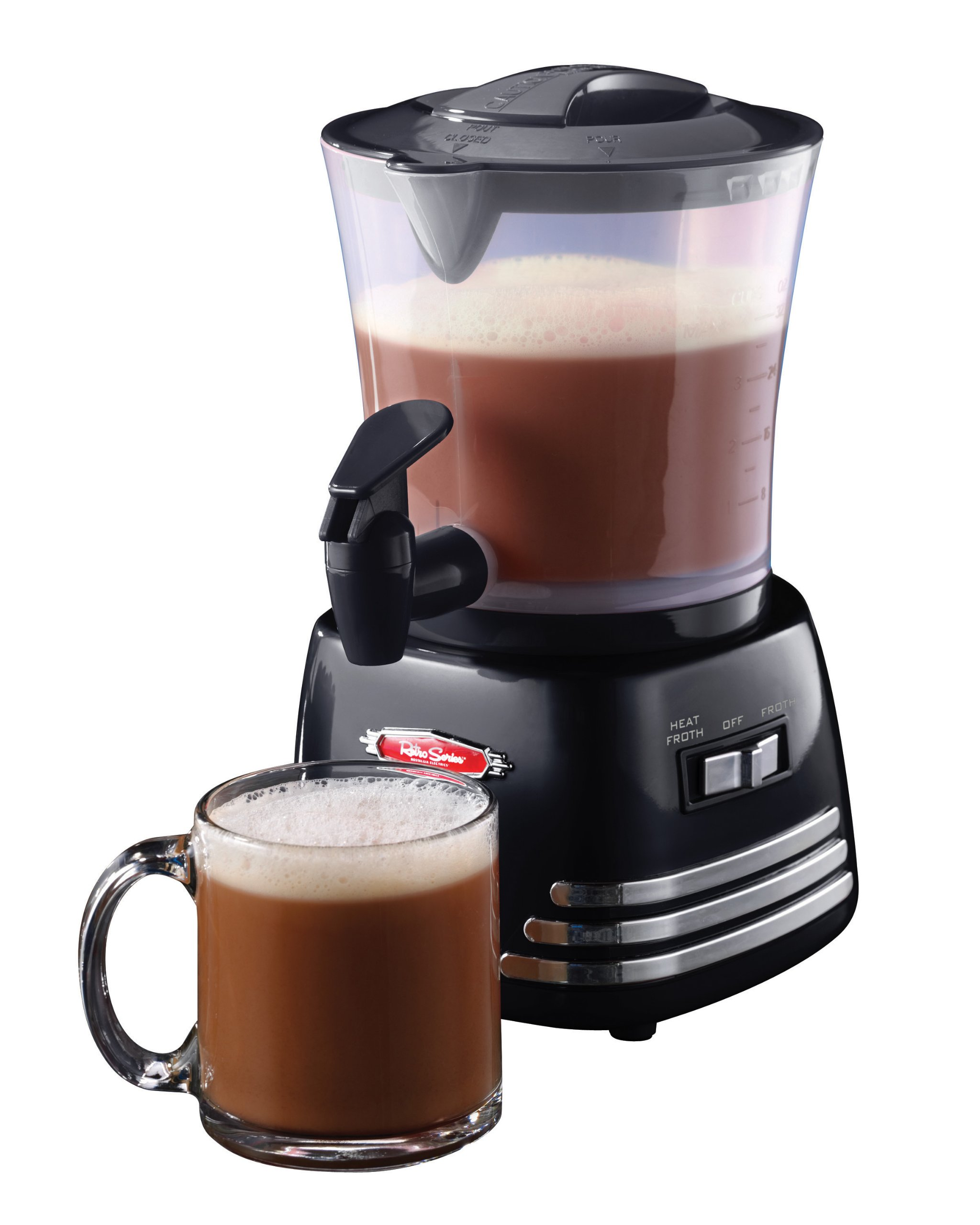 Nostalgia HCM700 Retro 32-Ounce Hot Chocolate, Milk Frother, Cappuccino,Latte Maker and Dispenser