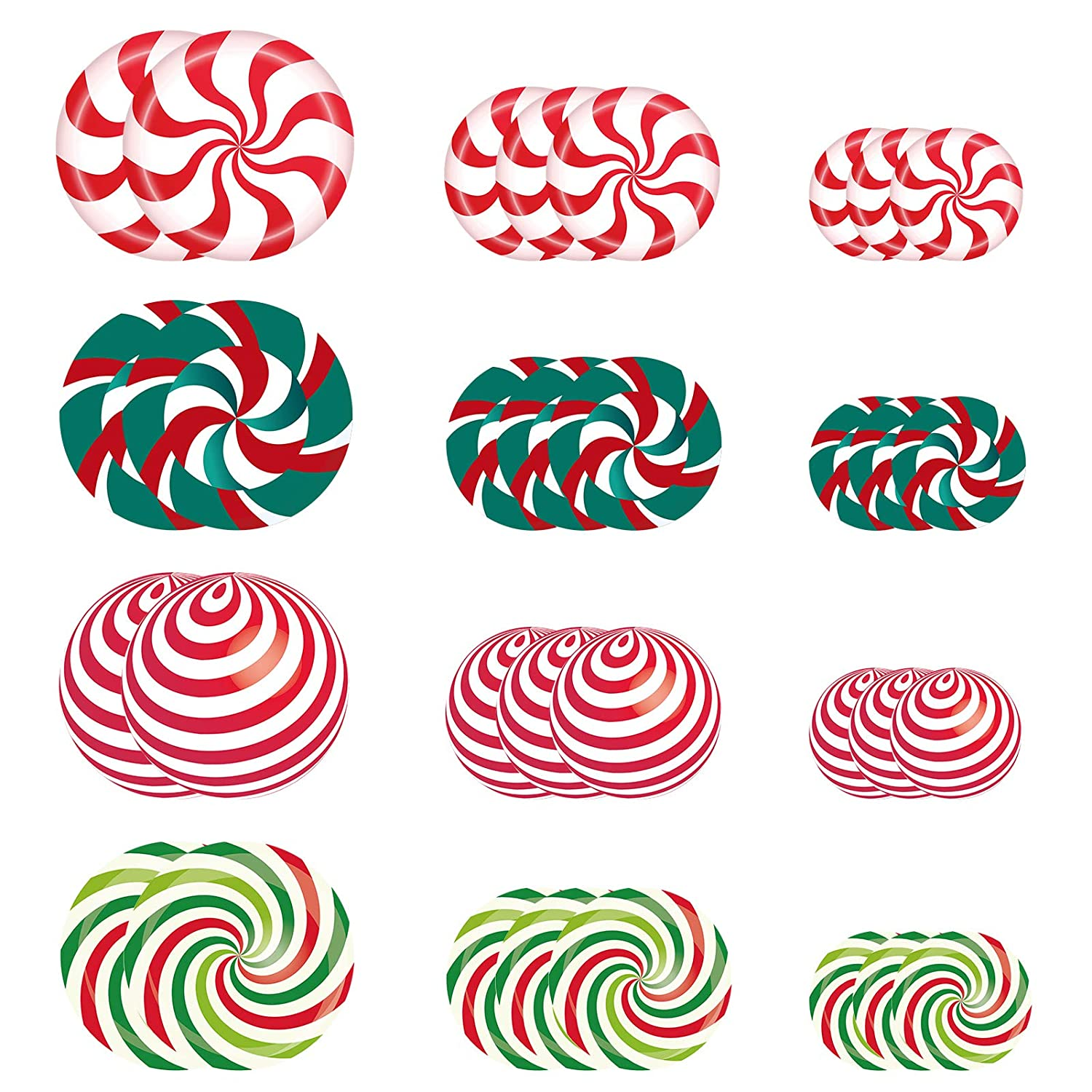 32 Pcs Christmas Candy Papermint Floor Decals Stickers-11