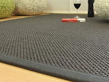 Sisal teppich  Astra Sisal Teppich Yucatan - Farbe grau - Bordüre granit ...