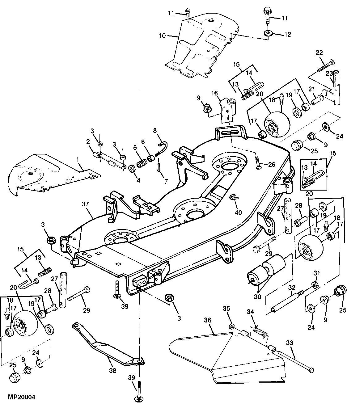 john deere z425 mower deck parts diagram