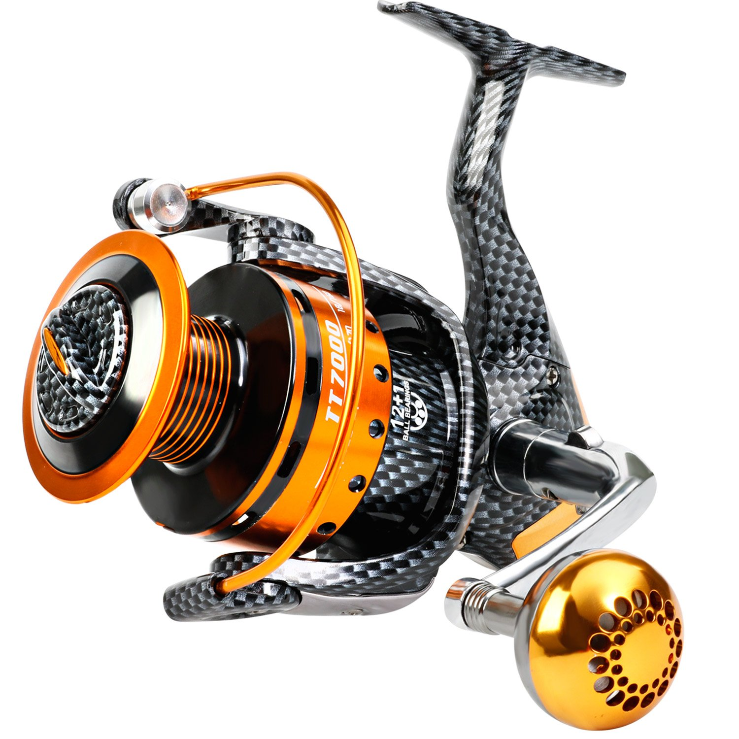 Burning Shark Fishing Reels- 12+1 BB, Light and Smooth Spinning Reels, Powerful Carbon Fiber Drag, Saltwater and Freshwater Fishing