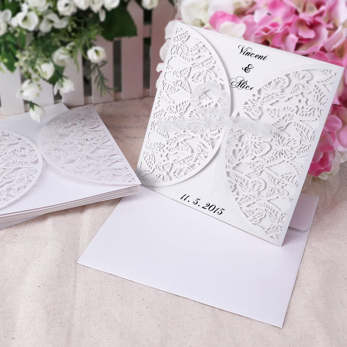 Wedding Invitations Invite Butterfly Cut Out + Blank Cards & Envelopes  Vintage