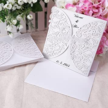 Wedding Invitations Invite Butterfly Cut Out Blank Cards Envelopes Vintage
