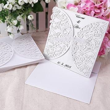 20 Stück. Einladung Einladungskarten Hochzeit Abendessen Weihnachten  Schmetterling Laser Cut Papier Leer Mit Umschlag