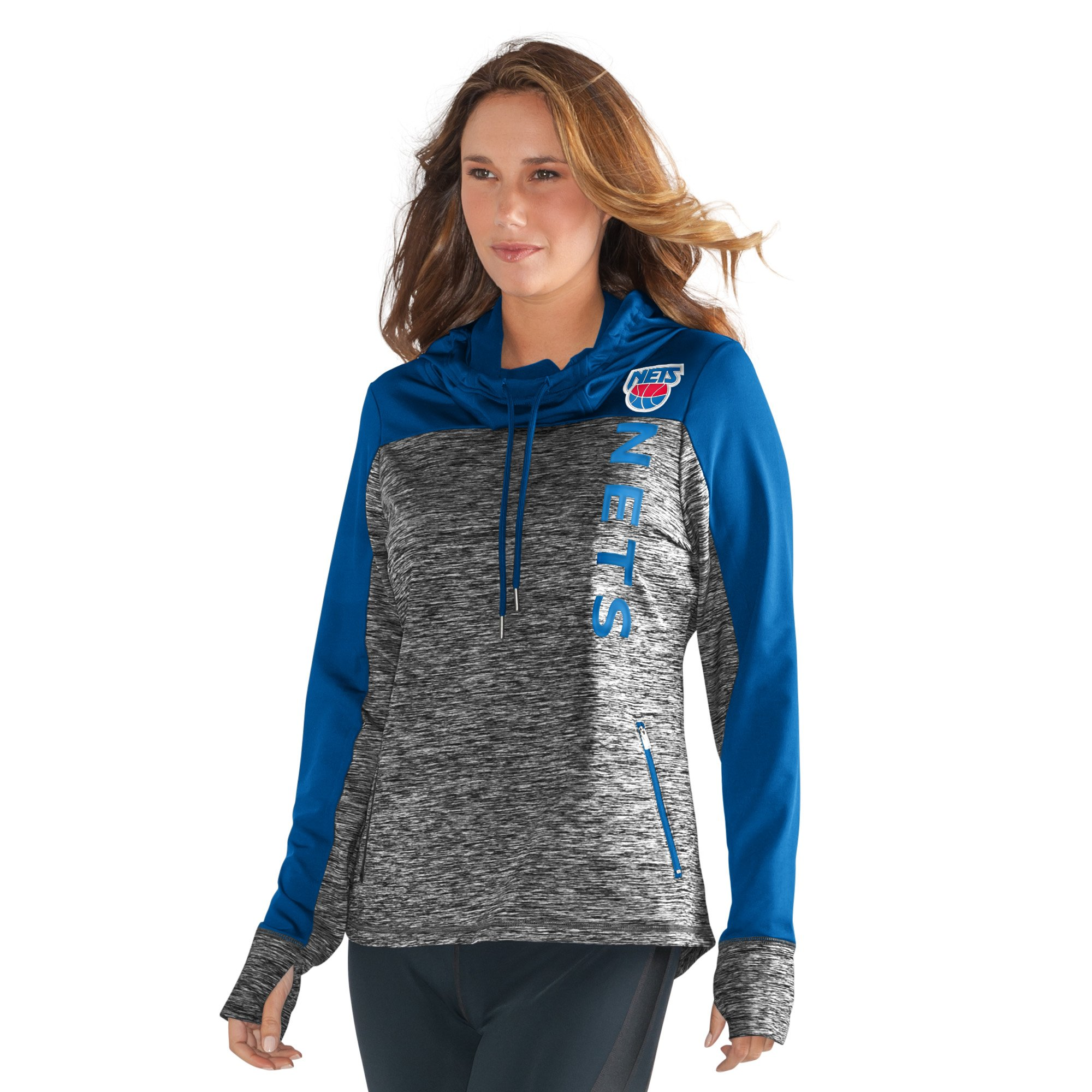 GIII For Her NBA New Jersey Nets Women's Sideline Pullover Hoody, Small, Heather Grey by GIII For Her