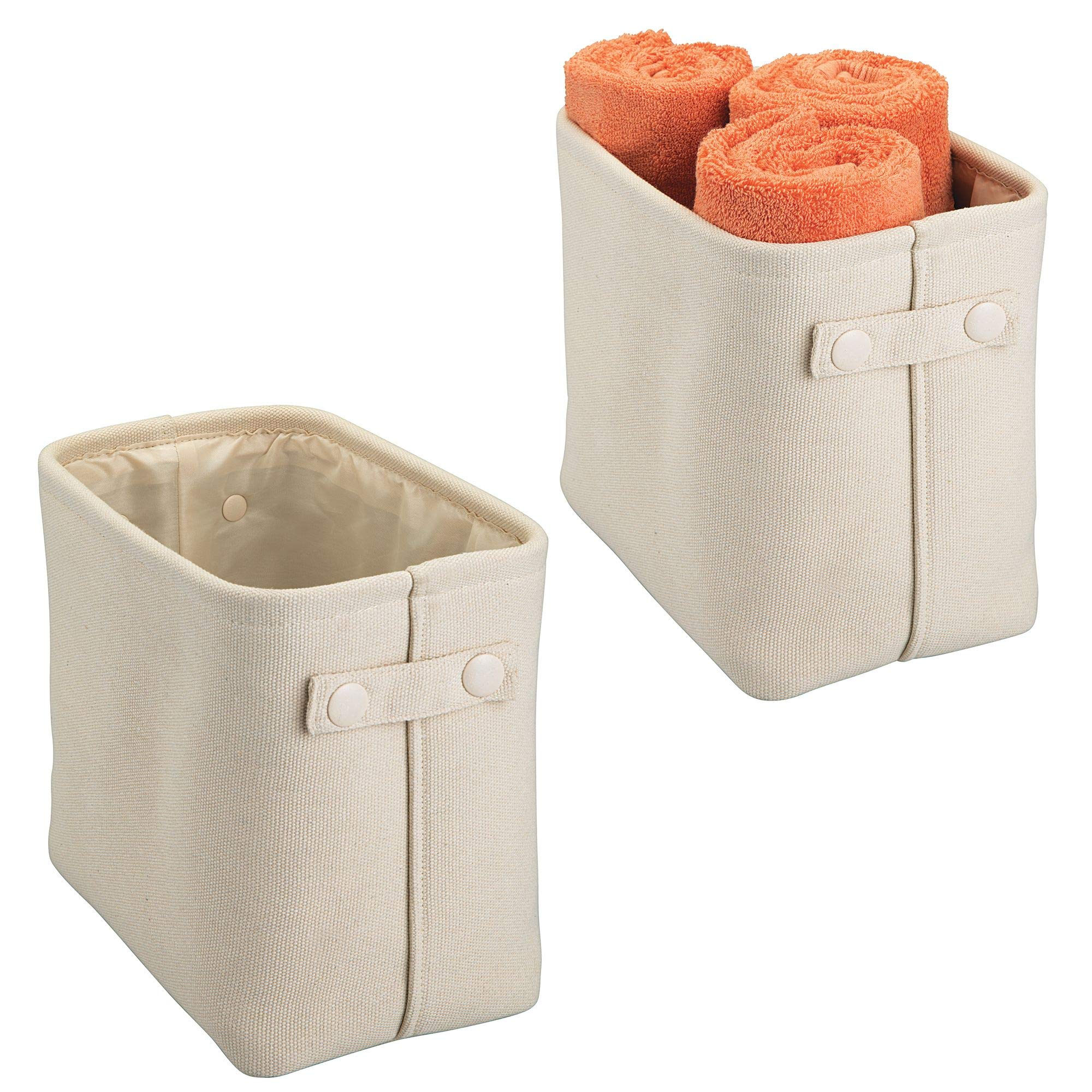 mDesign Soft Cotton Fabric Bathroom Storage Bin Basket with Coated Interior and Attached Handles - Organizer for Closets, Cabinets, Shelves - Pack of 2, Rectangular with Textured Weave, Cream