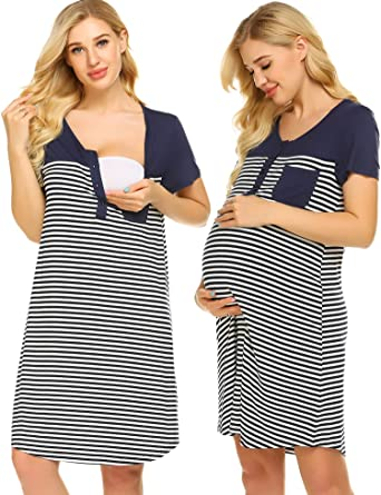 7f5d817a60d29 Ekouaer Pregnancy Dress Womens Round Neck Short Sleeve Casual Lounge Wear  Striped Nightie with Pockets ,