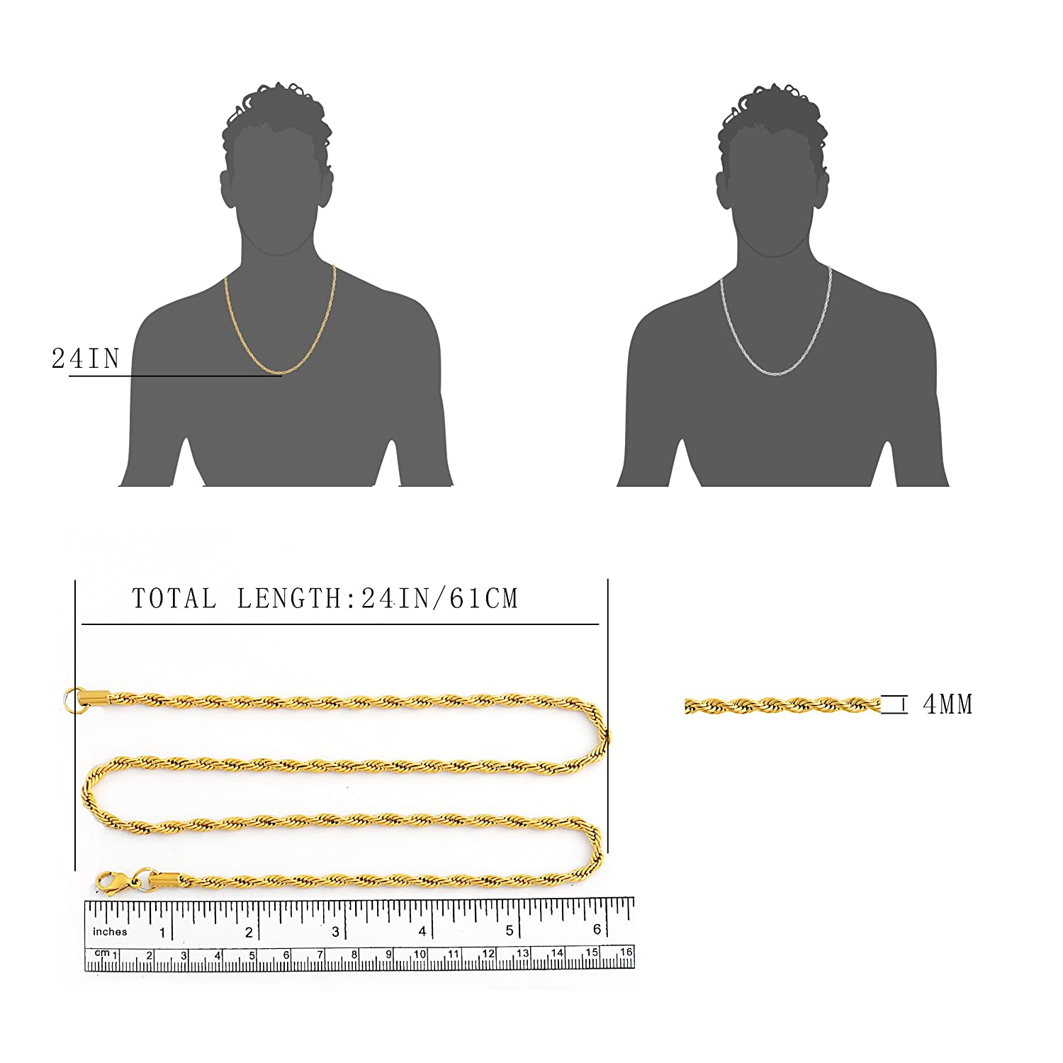 Stainless Steel 4mm Twist Rope Chain Necklace 22 Inches-28 Inches