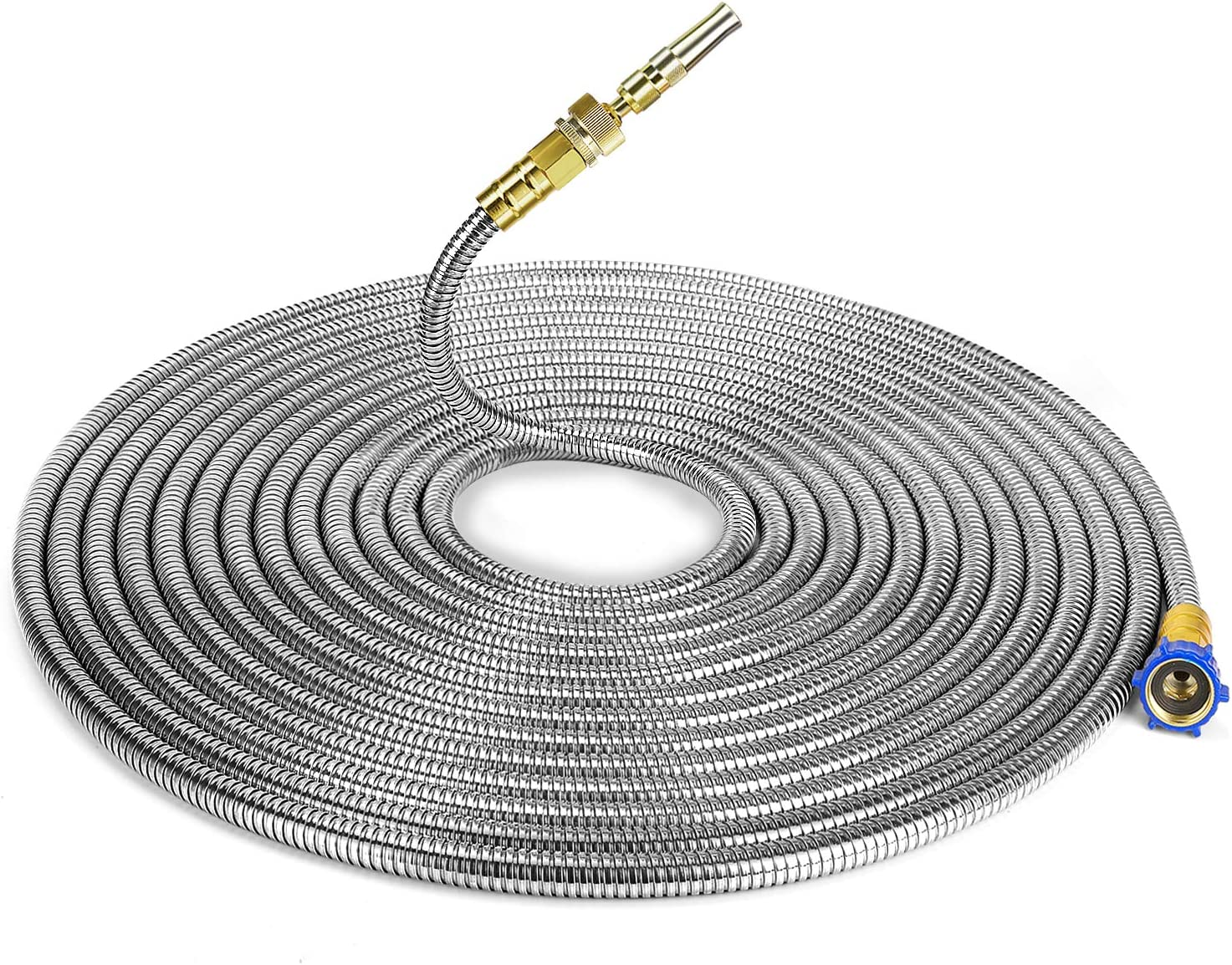 304 Stainless Steel Garden Hose-3 Feet Connector Extension,Short Metal Hose with Solid Brass Connector Metal Fittings Water Hose and Adjustable Nozzle,for Hose Reel//RV//Dehumidifier