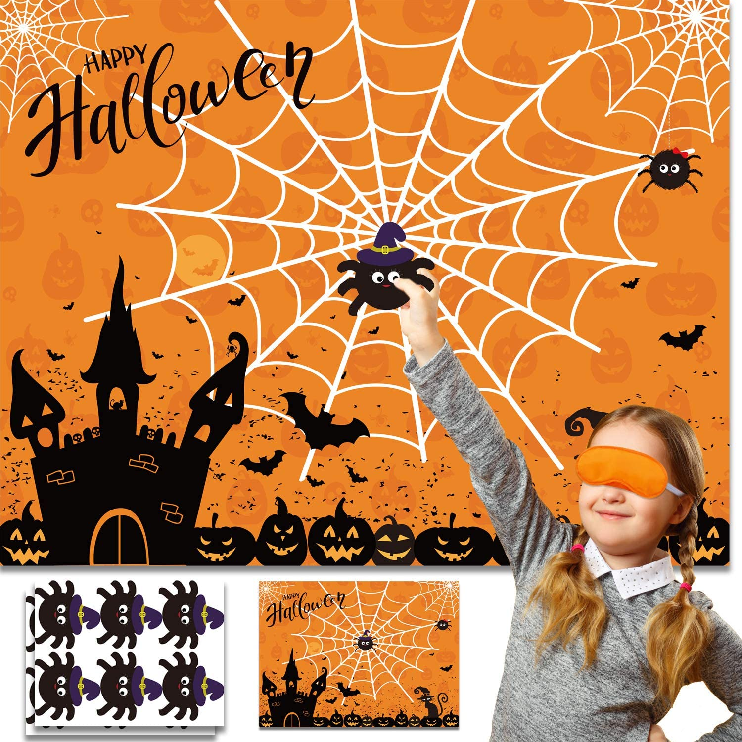 Halloween Party Games Pin The Spider on The Web Game Reusable Pin Game Spider Web Halloween Gift Halloween Party Favor Supplies for Kids Girls Boys: Toys & Games