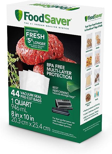Amazon.com: Paquete de 18 bolsas FoodSaver de tamaño de 1/4 de galón (0.95 litros) para guardar alimentos, Transparente: Kitchen & Dining