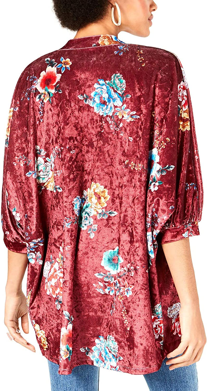 Project 28 Womens Velvet Floral Kimono
