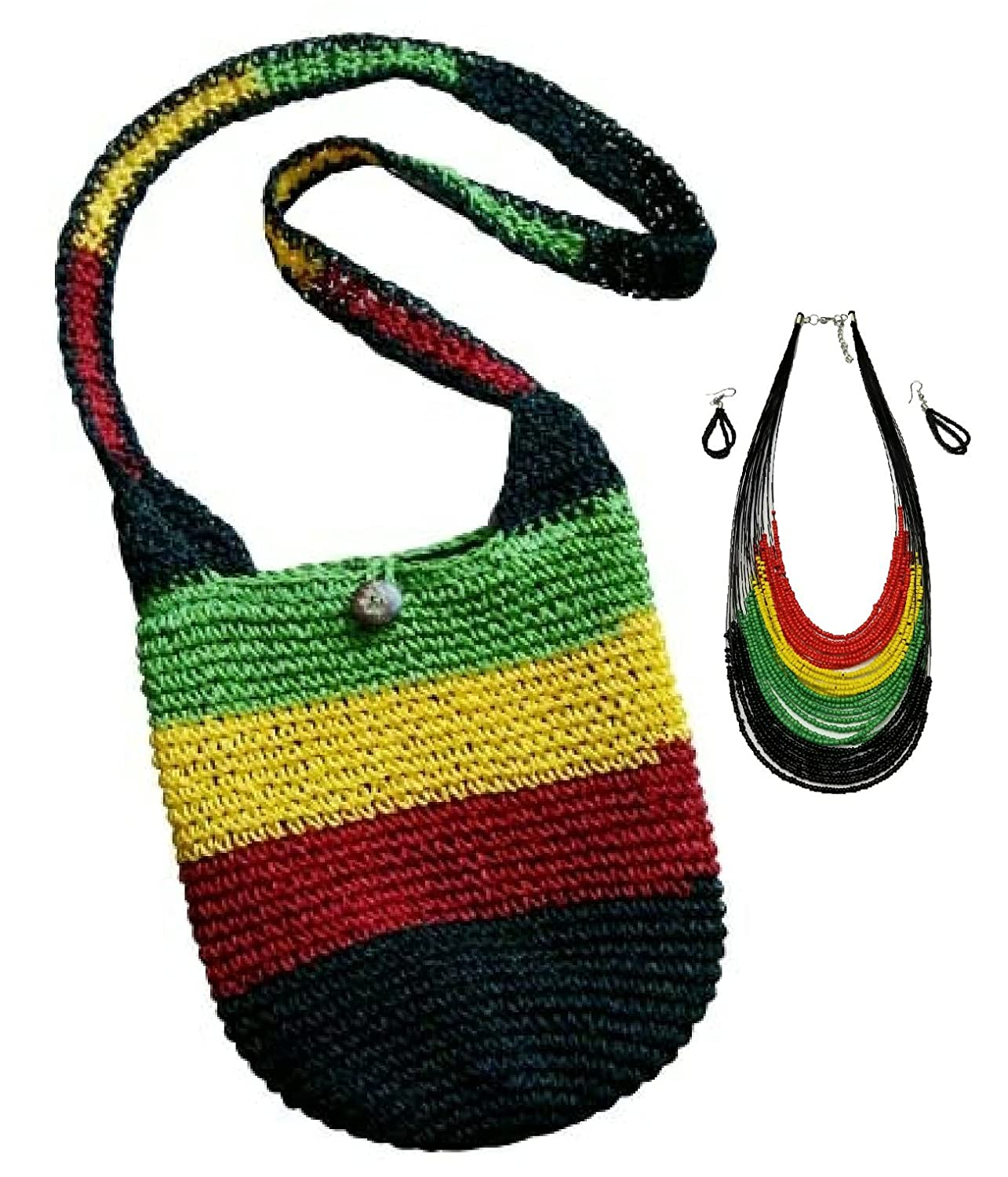 2 Pcs Rasta Jamaica Shoulder Bag Reggae Hippie Beach tote Handbag w//Rastafari Earring and Necklace set