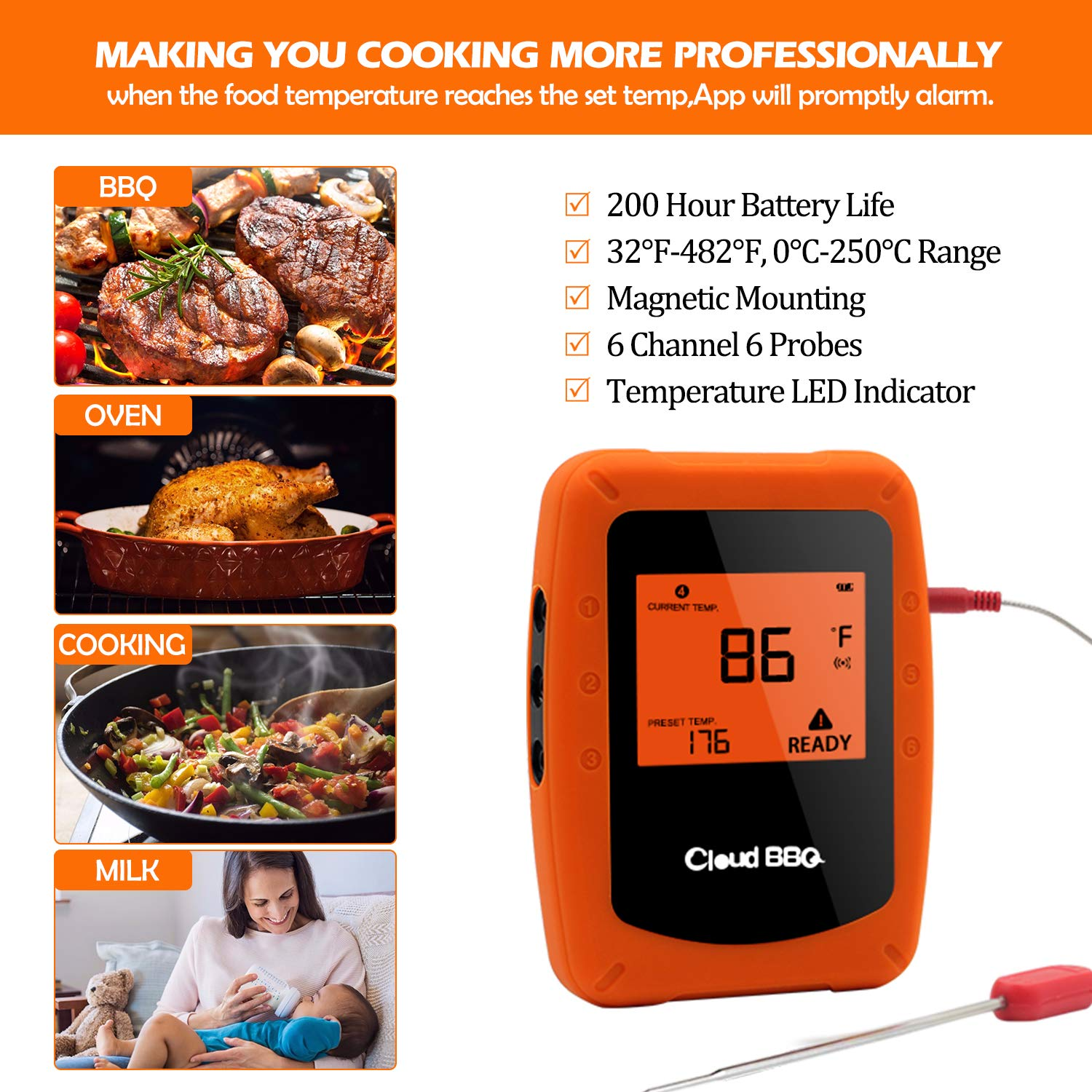 DareTang Bluetooth Meat Thermometer,Instant Read//APP WIFI Remote//Alarm Monitor//Wireless Digital BBQ Thermometer With 6 Waterproof Probes For Cooking Smoker Kitchen Oven Grill,Support IOS /& Android