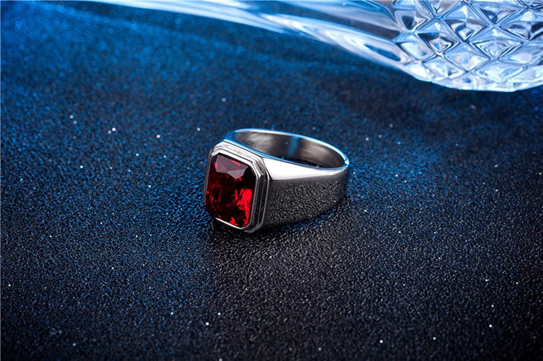 AiZnoY Herren Ring Edelstein Ring Edelstahl Silber Quadrat Ring Gold Mit Blauem Stein