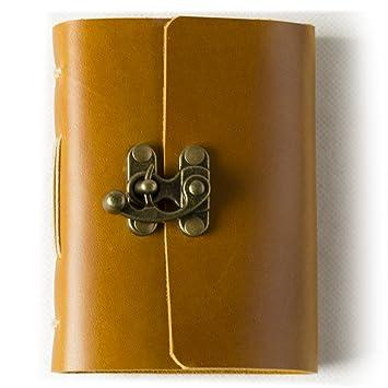Diario de cuero genuino diario con bloqueo de Vintage hecho a mano en blanco, con