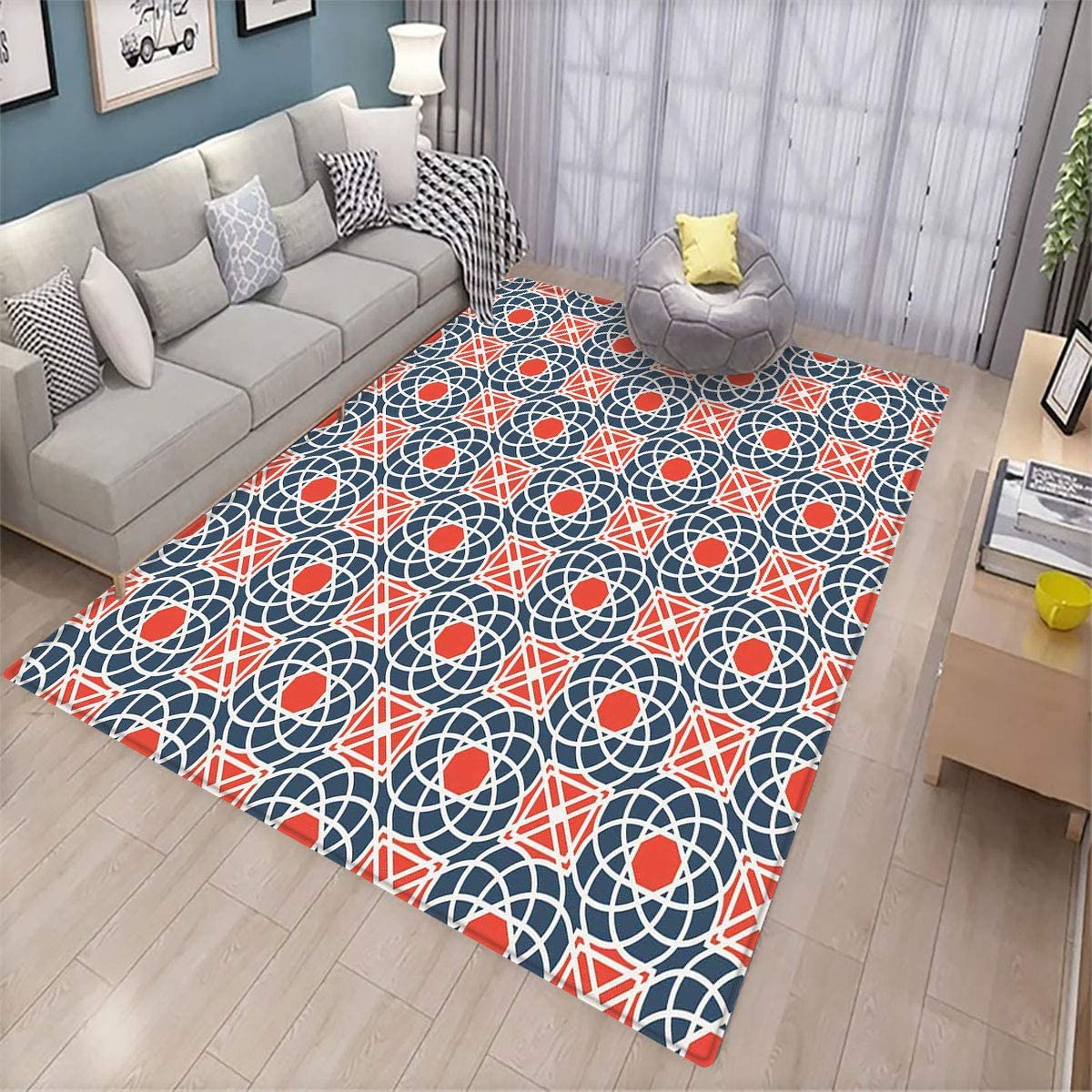 Geometric,Area Rug Bedroom Decor,Floral Intricate Lines and Squares Abstract Image Middle Eastern,Can be Used for Floor Decoration,6.6'x9' Cadet Blue Vermilion White