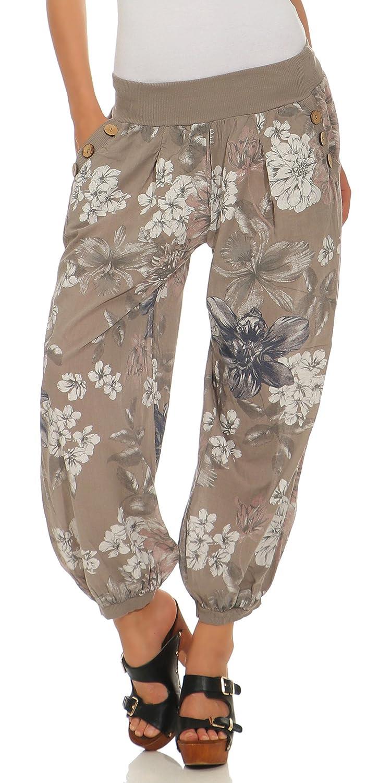Pumphose mit sommerlichen Print Haremshose Pluderhose Hose 3481 Damen One Size