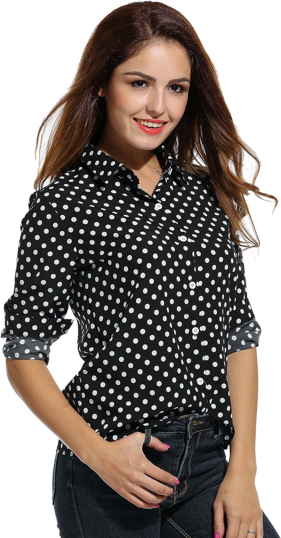 Meaneor Womens Easy Care Poplin Shirt Blouse Long Sleeve Polka Dot Plain Work Shirts