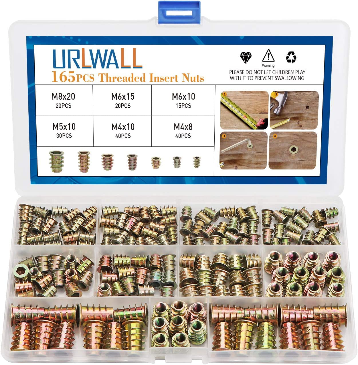 URLWALL 165PCS Threaded Inserts Nuts, Wood Insert Assortment Tool Kit, M4/M5/M6/M8 Furniture Screw in Nut Wood Inserts Metric Bolt Fastener Hex Socket Drive for Wood Furniture Assortment