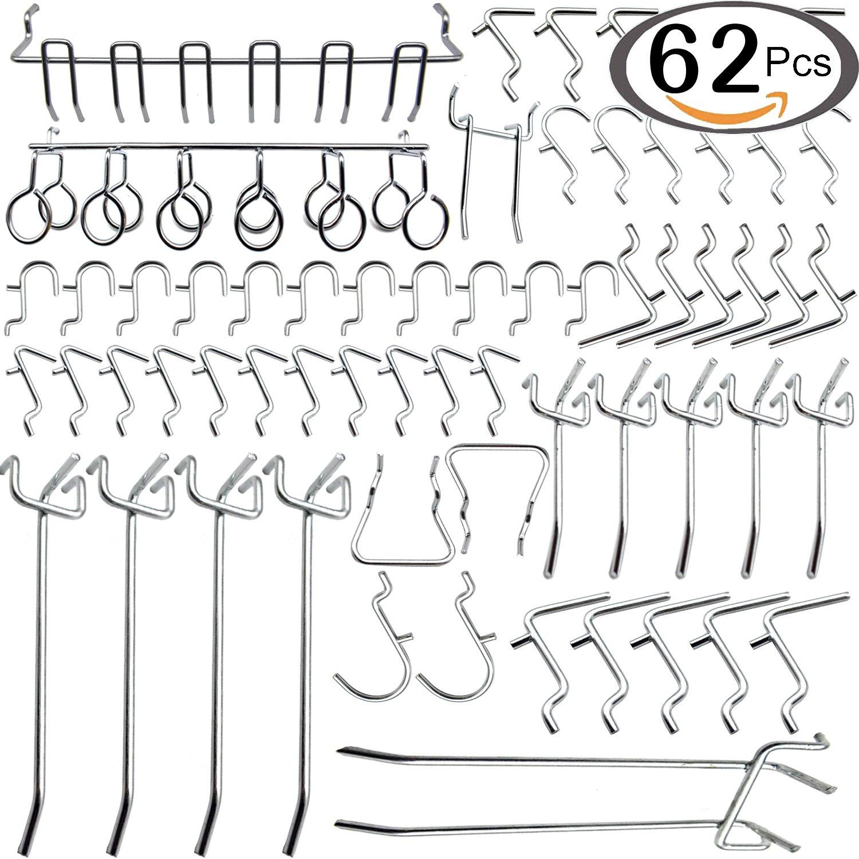 Navseek 7533H Pegboard Hooks and Organizer Assortment - 62Pcs Peg Hook Organization