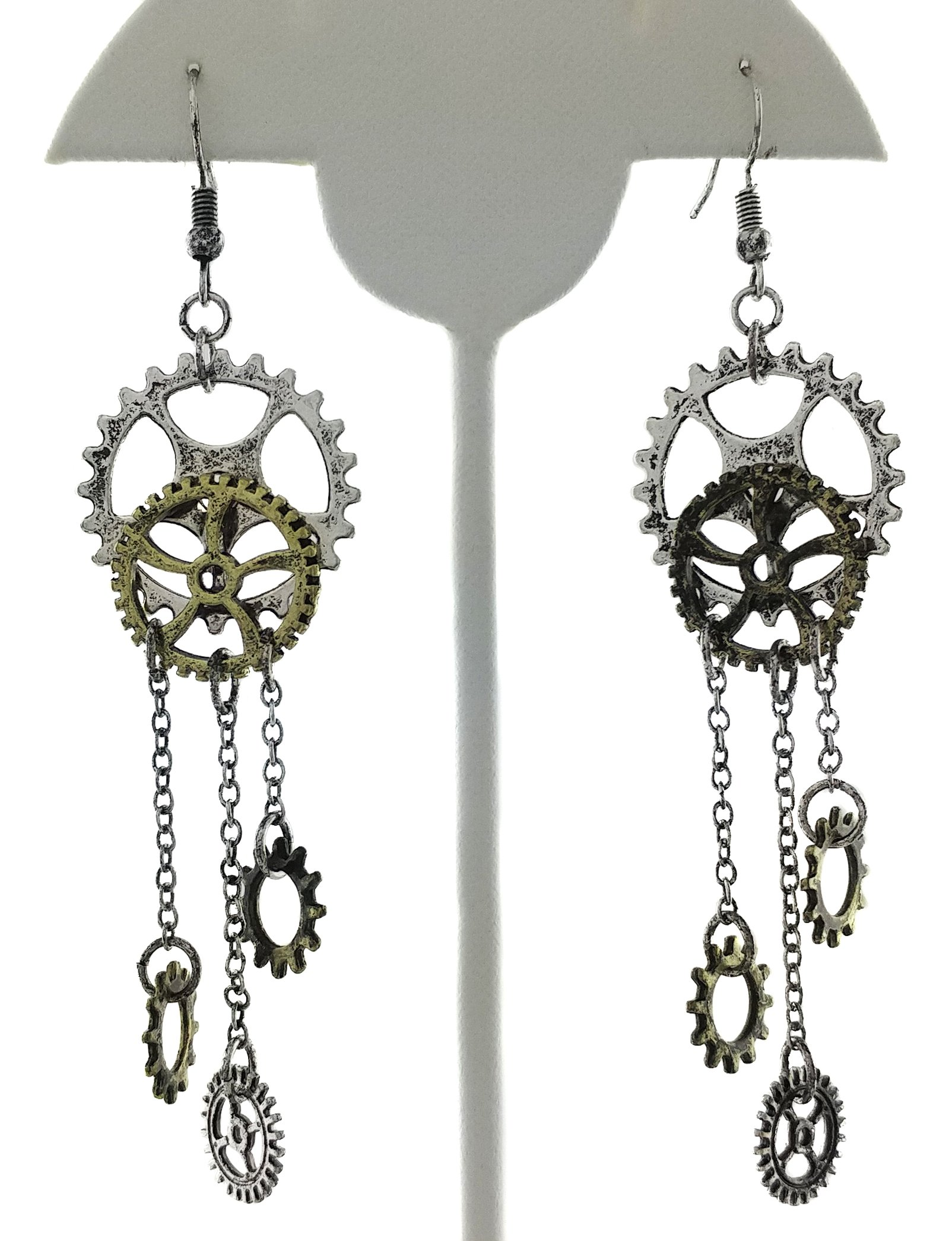 Women's Steampunk Antique Earrings for sensitive ears | Clock Wheel Gear mixed tone 4
