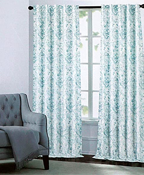 Attractive Nicole Miller Pair Of Window Curtains Panels Drapes Watercolor Paisley Aqua  Green On White 52 Inches