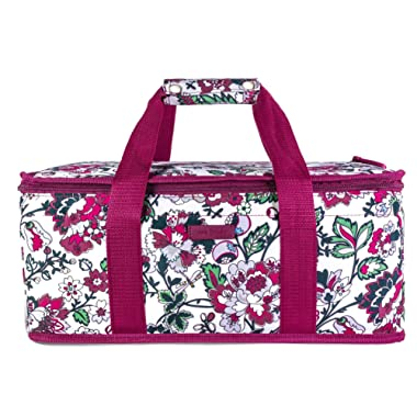Vera Bradley Insulated Casserole Carrier with Zip Closure and Handles, Fits Up To Two 13x9 Baking Dishes, Bordeaux Blossoms