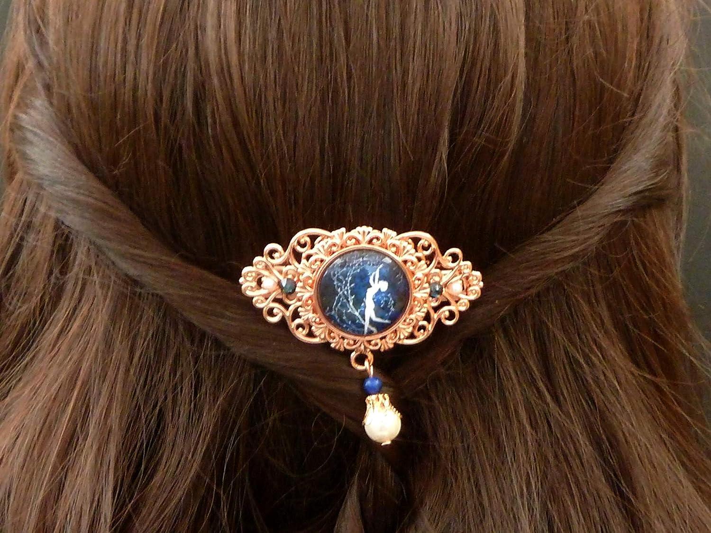 Kleine Haarsange mit tanzender Nymphe in rotgold dunkelblau