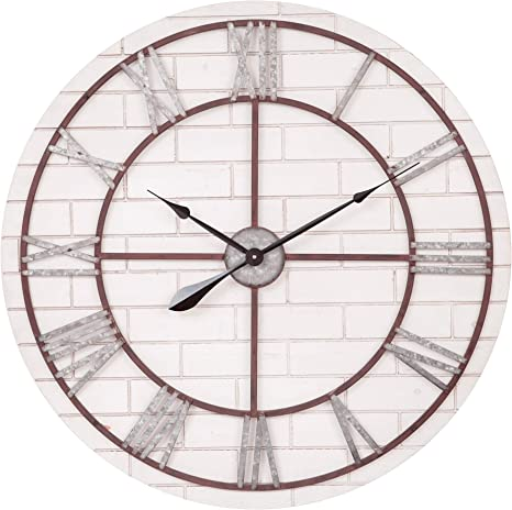 Amazon Com Patton Wall Decor 32 Inch Rustic Whitewash Wood And Metal Wall Clock White Home Kitchen