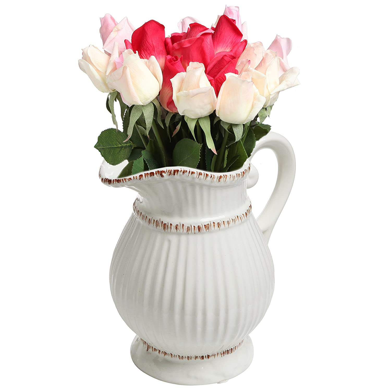 Amazon white ceramic vintage style french country water amazon white ceramic vintage style french country water pitcher flower vase decorative bouquet holder home kitchen reviewsmspy