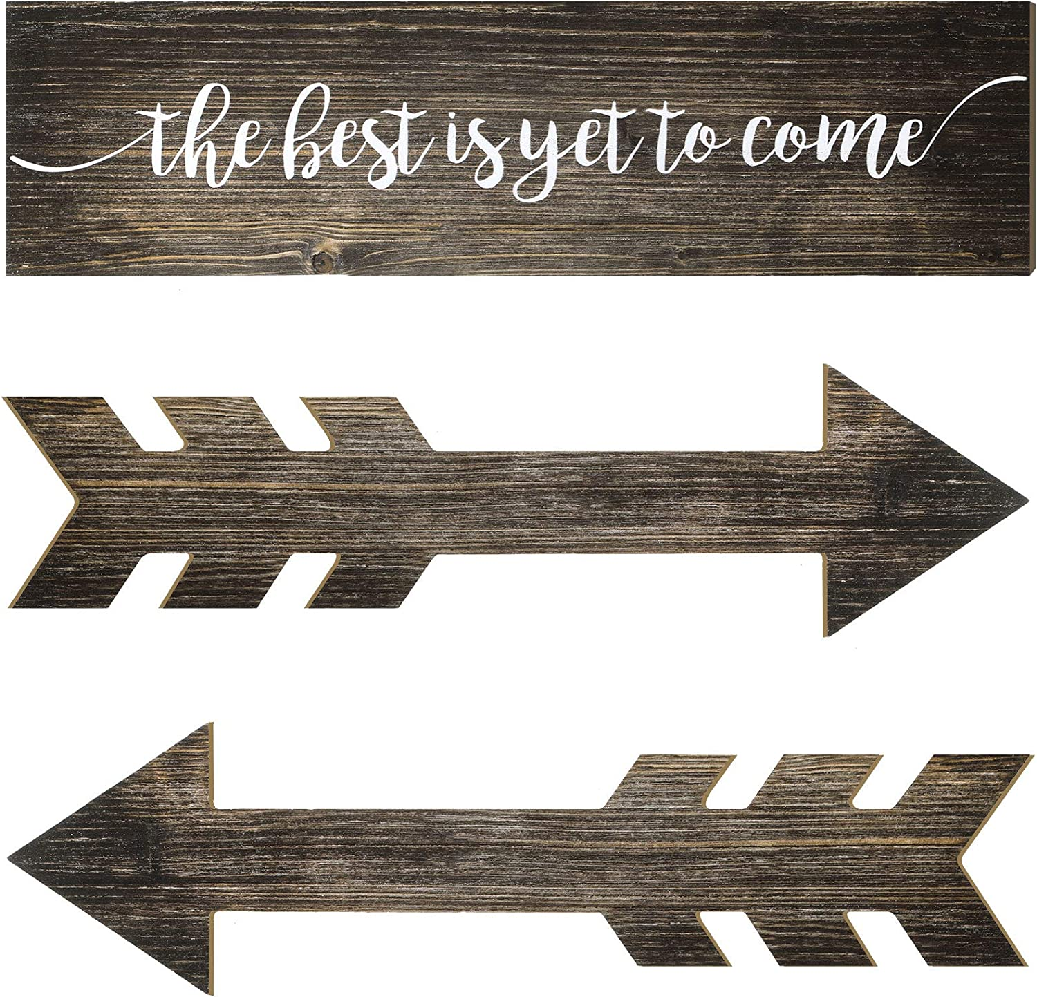 3 Pieces The Best is Yet to Come Wall Decor Rustic Wood Hanging Signs Wooden Arrow Plank Design Wall Decor for Farmhouse Party Decor