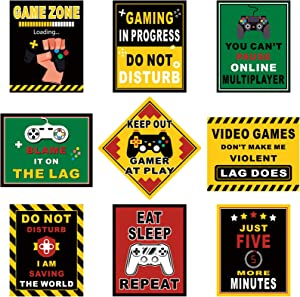 9 Pieces Video Game Themed Wall Art Posters Art Print Funny Gaming Poster Video Game Wall Decor Gaming Themed Party Signs for Boy Kid Bedroom Playroom Party Decorations