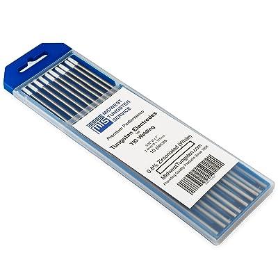 """TIG Welding Tungsten Electrodes 0.8% Zirconiated 3/32"""" x 7"""" (White, WZ8) 10-Pack"""