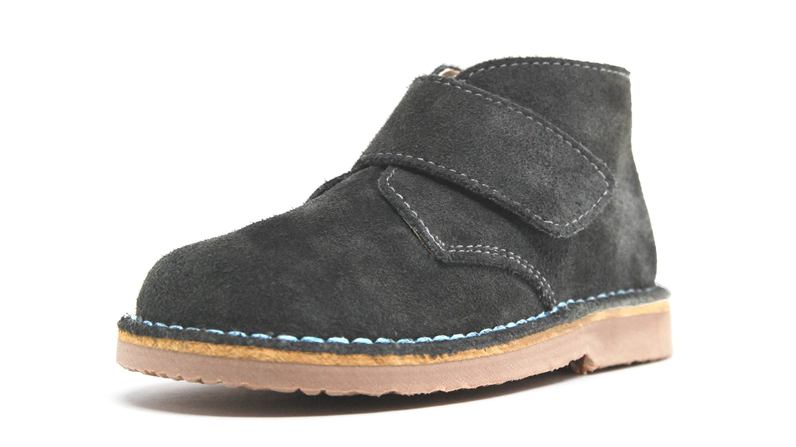POM Shoes Madrid Mini Gray & Blue Velcro Boots with Leather Lining and Blue Accents 27 EU (8 M US Toddler)